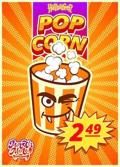 Popcorn-monster-menü. ein vertikales banner mit einem preisschild für ein fast-food-café am halloween-tag. vektor-illustration.
