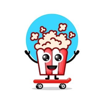 Popcorn-skateboard niedliches charakter-maskottchen