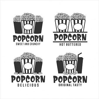 Popcorn süße und knusprige logo-kollektion