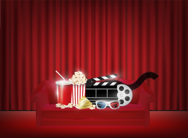 Popcorn trinken film 3d-brille auf einem sofa