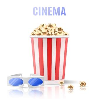 Popcorn und 3d-brille.