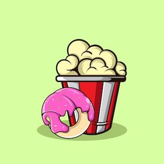 Popcorn und der geschmolzene donut
