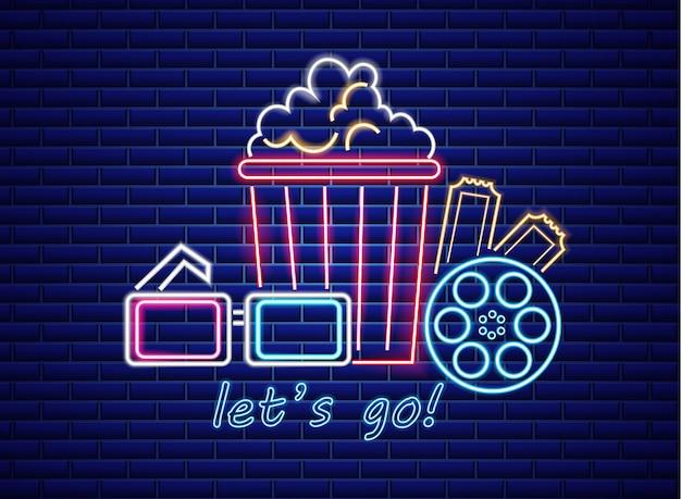 Popcorn und gläser im neonstil