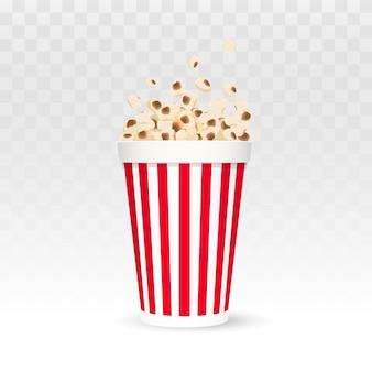 Popcorn-vektor-illustration popcorn in rot-weiß gestreiften box isoliert auf weißem hintergrund