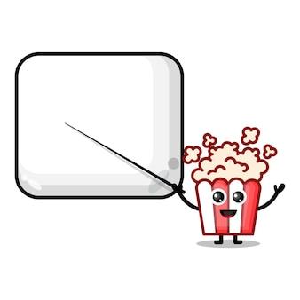 Popcorn wird zu einem niedlichen charaktermaskottchen des lehrers