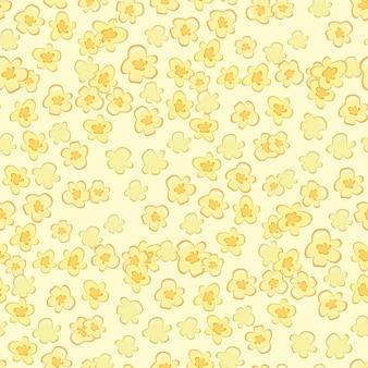 Popcorn-zirkus-kino-fast-food-leckere nahtlose muster-vektor-illustration. popcorn süßes essen flacher vektorhintergrund. leckere ungesunde mais-dessert-tapete.