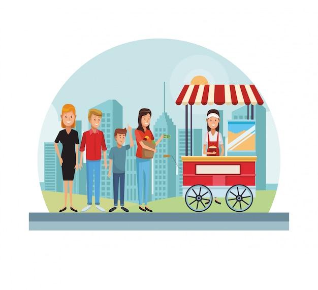 Popcornwagen in der stadt