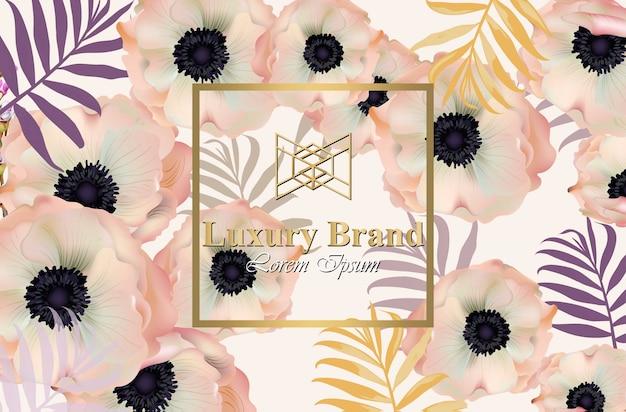 Poppy blumen luxus-design-karte vektor. hintergrund für visitenkarte, markenbuch oder poster