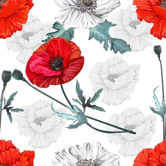 Poppy blumen nahtlose muster