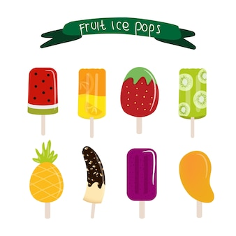 Popsicle früchte eis pops set