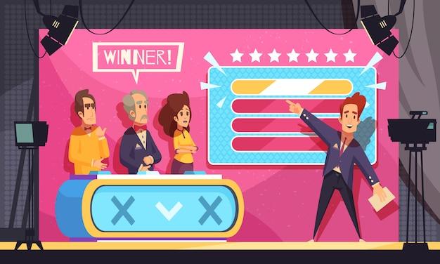 Populäre fernsehschätzungswortspielfernsehshow-schlussmoment-karikaturzusammensetzung mit wirtskandidatensieger