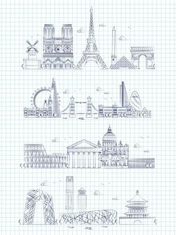 Populäre wortstädte umreißen panorama auf notizbuchseite
