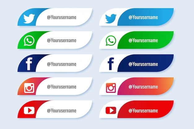 Populärer social media-ikonenkreativsatz des unteren drittels