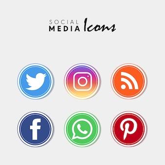 Populärer social media-ikonensatz