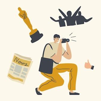 Popularität, ruhm und skandal illustration. fotograf, der bei der preisverleihung oder beim festival des kinos fotografiert