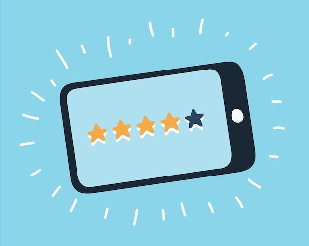 Popup-dialogfeld auf dem mobiltelefon mit einem vorschlag, eine schätzung abzugeben. zeigen sie das ranking im fo...