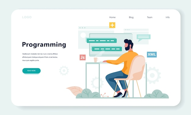 Porgrammer sitzt am schreibtisch und arbeitet am laptop. webentwickler-arbeitsplatz. softwareprogrammierung. illustration im cartoon-stil