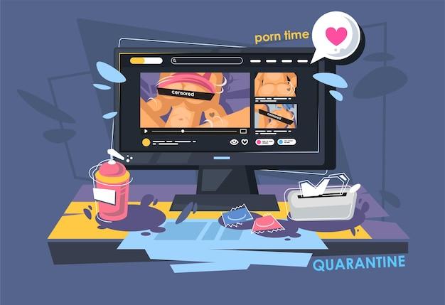 Pornografie, pornografie und pornografische inhalte auf dem computer. online-inhalte für erwachsene.