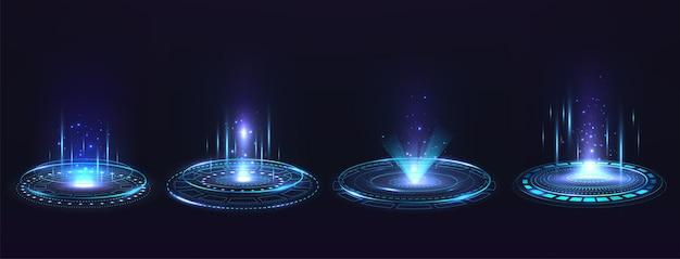 Portal mit hologrammelementen. futuristischer high-tech-kreis-virtual-reality-projektor. set von podesten mit blauen lichtstrahlen und funken.