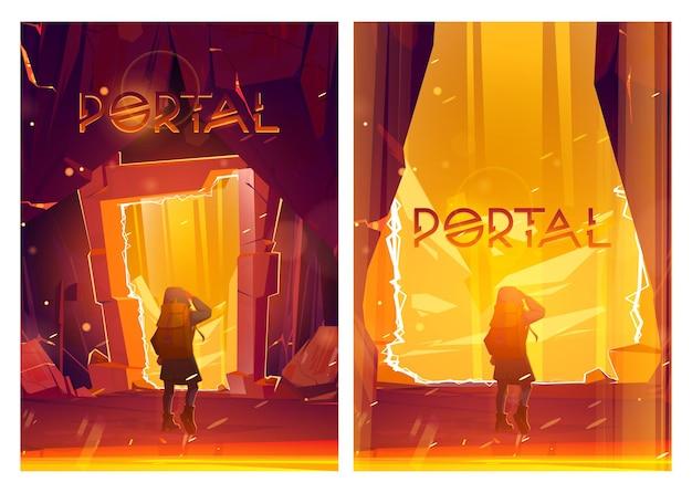 Portalkarikaturplakate mit reisendem mann stehen am magischen teleport im steinrahmen innerhalb der berghöhle