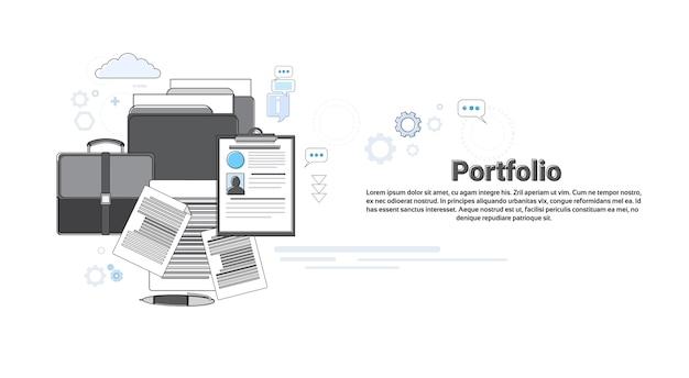 Portfolio-berufsbesetzungs-geschäfts-netz-fahnen-vektor-illustration