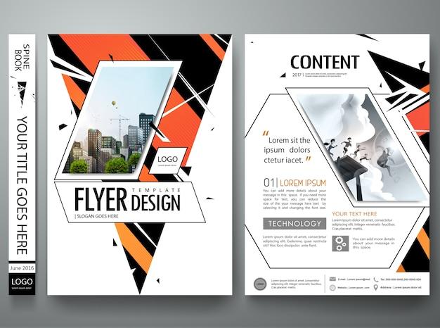 Portfolio-design-vektor. minimale broschürenreport-fliegerschablone. abstraktes dreieck auf cov