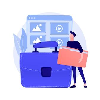 Portfolio-management. beispiele früherer projekte, werkkatalog, präsentation der fähigkeiten. erfolgreicher grafikdesigner, zeichentrickfigur des webentwicklers.