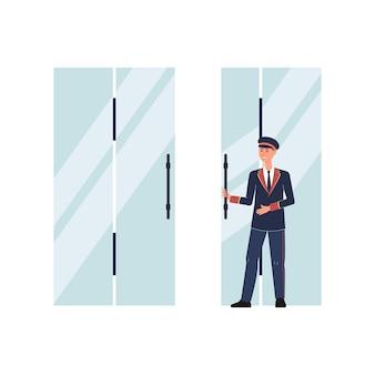 Portier oder portier, türhüter-zeichentrickfigur in uniformanzug, die flache illustration der eingangstüren auf weiß öffnet