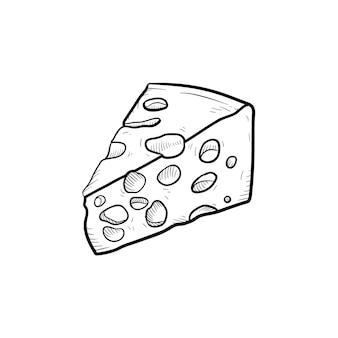 Portion käse handgezeichnete umriss-doodle-symbol. gesundes milchprodukt - käsevektorskizzenillustration für druck, netz, mobile und infografiken lokalisiert auf weißem hintergrund.