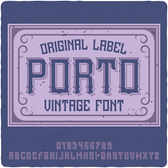 Porto label schrift