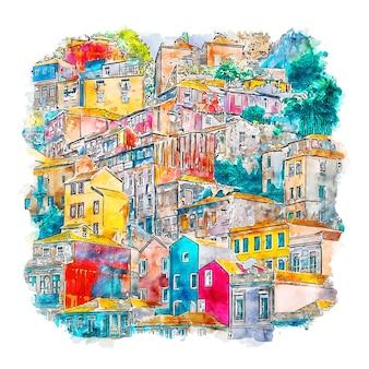 Porto portugal aquarell skizze hand gezeichnete illustration