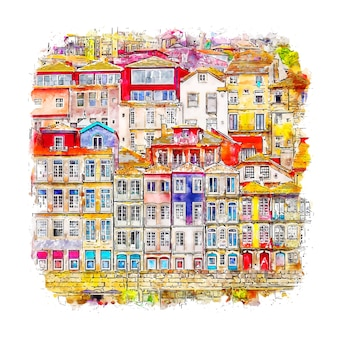 Porto portugal aquarell skizze hand gezeichnete illustration