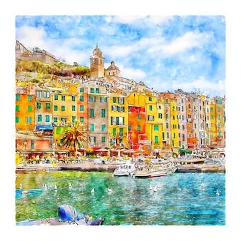 Portovenere italien aquarellskizze handgezeichnete illustration