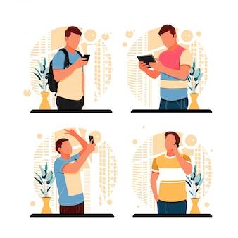 Porträt der arbeitssituation. flaches designkonzept. illustration