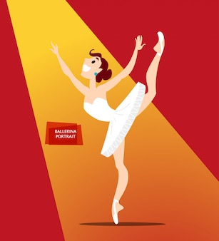 Porträt der ballerina dame in uniform. stil.