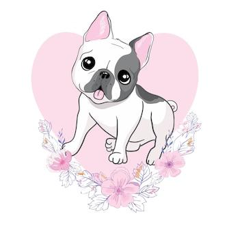 Porträt der französischen bulldoggenrasse des haushundes