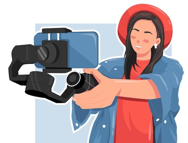 Porträt der frau, die ein video mit der flachen vektorillustration des smartphones macht