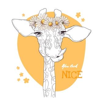 Porträt der giraffe mit einem kranz von gänseblümchen.