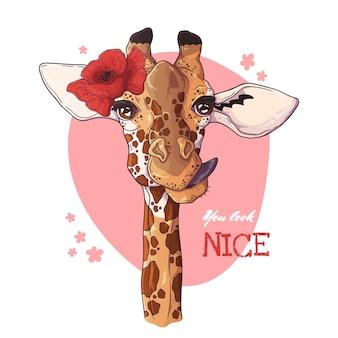 Porträt der giraffe mit mohnblume.