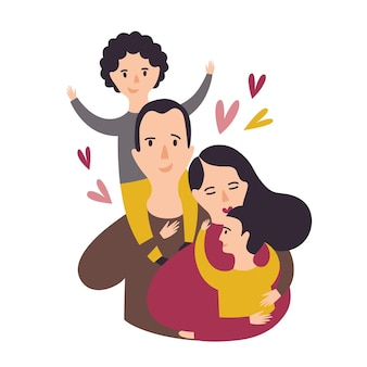 Porträt der glücklichen liebevollen familie. lächelnder papa, mama und zwei söhne. froher vater, mutter und kinderpaar. eltern und kinder. entzückende zeichentrickfiguren. bunte vektorillustration im flachen stil.