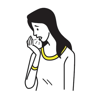 Porträt der hübschen frau atem zu ihrer handfläche