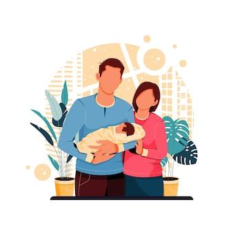 Porträt der idealen familienillustration
