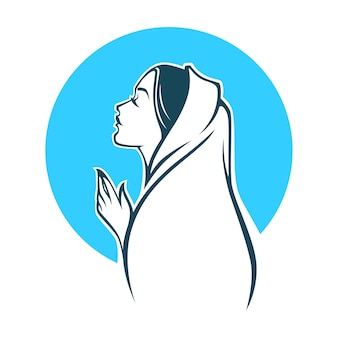 Porträt der jungfrau maria für ihr logo, etikett, emblem