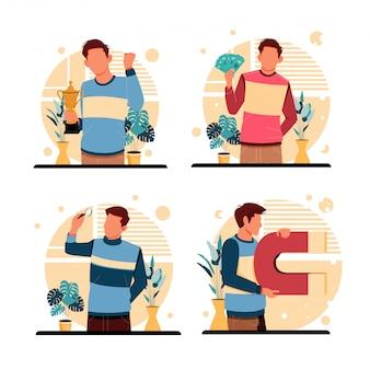 Porträt der männeraktivität. flaches designkonzept. illustration