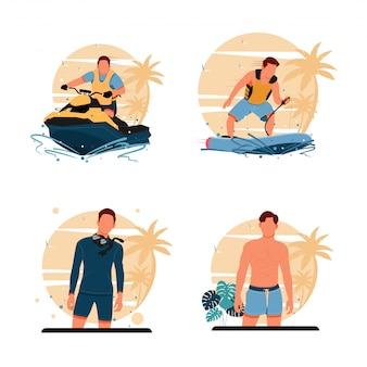 Porträt der männeraktivitäten am strand. flaches designkonzept. illustration