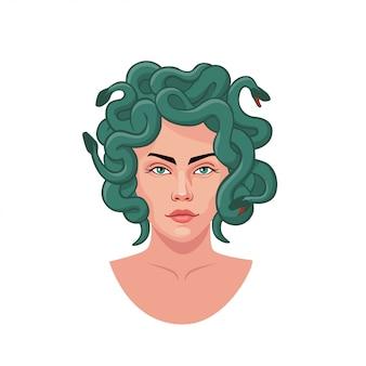 Porträt der medusagorgon mit der grafischen illustration des haares der grünen schlangen