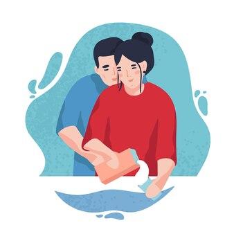 Porträt des glücklichen paares in der liebe gegen blauen fleck im hintergrund. junge lächelnde mann umarmt frau milch in glas gießen. süße zeichentrickfiguren. bunte vektorillustration im flachen stil.