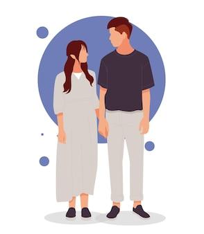 Porträt des händchenhaltens des romantischen paares