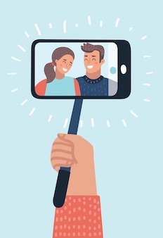 Porträt des lächelnden jungen paares auf smartphone-selfie-stick-einbeinstativ abstrakter himmelshintergrundvektor i