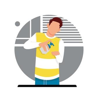 Porträt des mannes trägt händedesinfektionsmittel, flaches designkonzept. vektorillustration